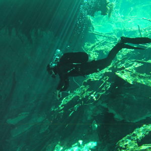 Researcher in an underwater cave.  Photo by: D. Brankovits and J. Pohlman.
